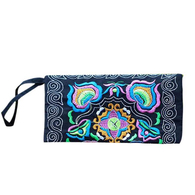 Wallet Clutch-Bag Wristlet Vintage Purse Embroidered Handmade Women Ladies' Ethnic Billetera-Mujer
