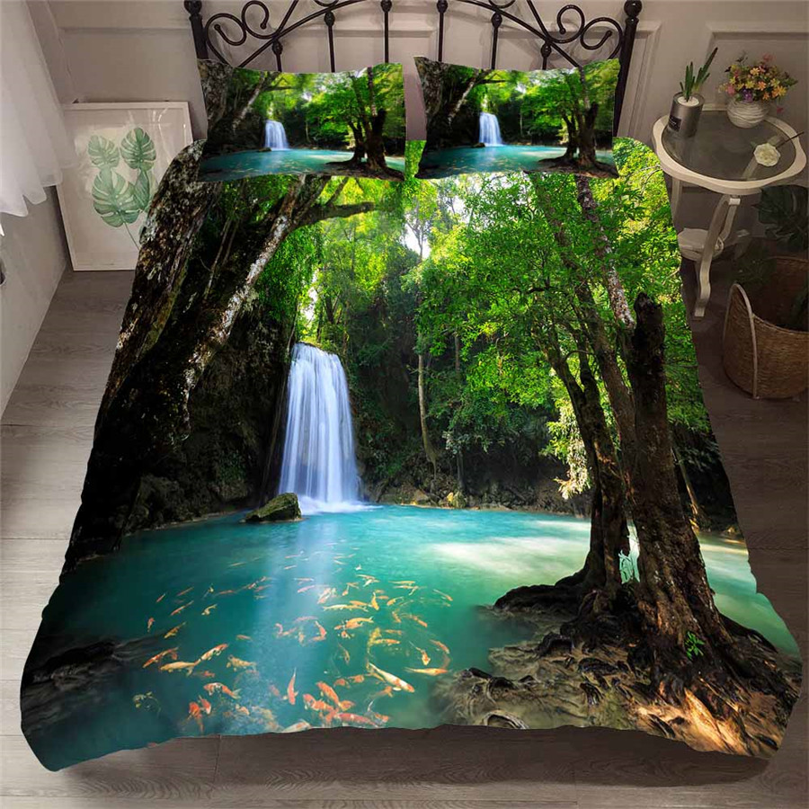 Image 1 - Bedding Set 3D Printed Duvet Cover Bed Set Forest waterfall Home Textiles for Adults Bedclothes with Pillowcase #SL04-in Bedding Sets from Home & Garden