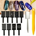 1 set / 11pcs Magical 3D Magnet Stick Board Magnetic Cat Eye Pen Drawing Vertical Stick For UV Nail Gel Polish Tools