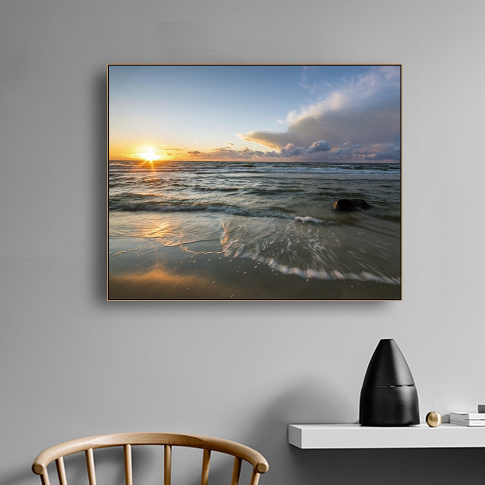 Laeacco Calligraphy Painting for the Wall Artwork Canvas Sea Sunrise Posters and Prints Home Bedroom Decoration Pictures in Painting Calligraphy from Home Garden