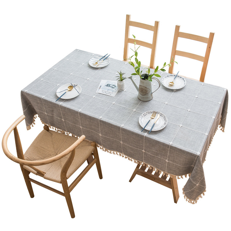 Plaid Solid Decorative Linen Tablecloth With Tassels Waterproof Oilproof Rectangular Wedding Dining Table Cover Tea Table Cloth
