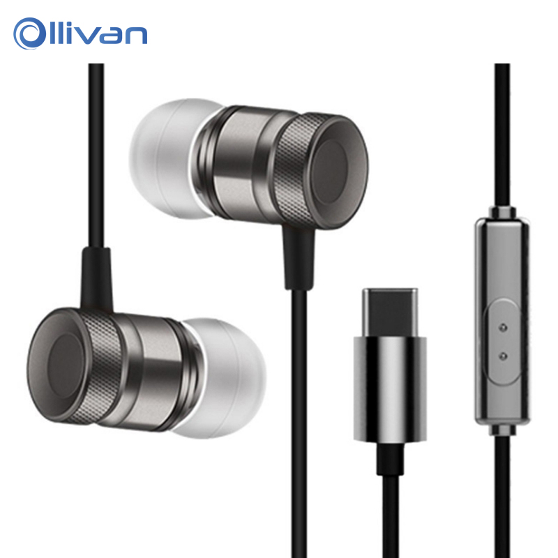 OLLIVAN Type-C in-ear earphone wired sports metal Earphones with microphone Type C Surround sound headset for Type C phones ggmm alauda earphones with microphone in ear metal earphones music headets wired earphone hands free sports earphone for phone