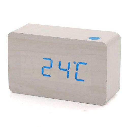 HGHO-Wood USB Digital Blue LED Alarm Clock Calendar Thermometer