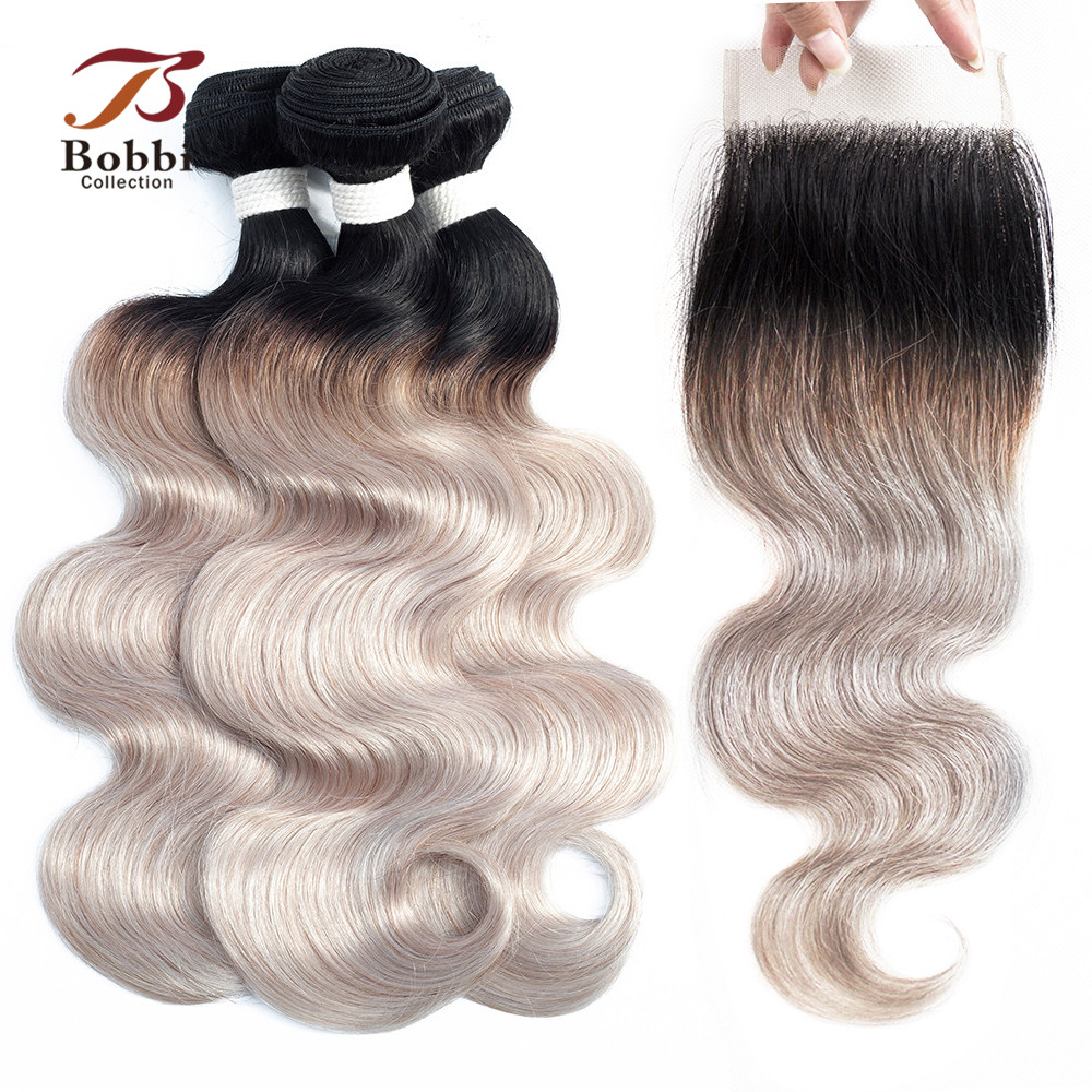 BOBBI COLLECTION 2 3 Bundles With Closure Ombre White Grey Peruvian Body Wave Hair Pre Colored