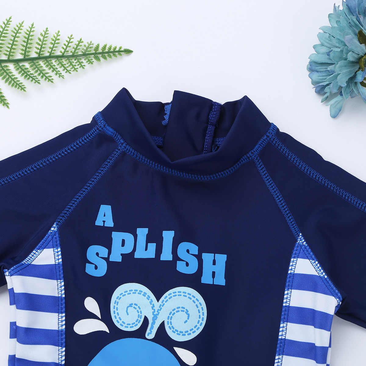Детский купальный костюм для мальчиков, цельный купальный костюм с шапкой с принтом акулы/Кита, купальный костюм, детский купальный костюм