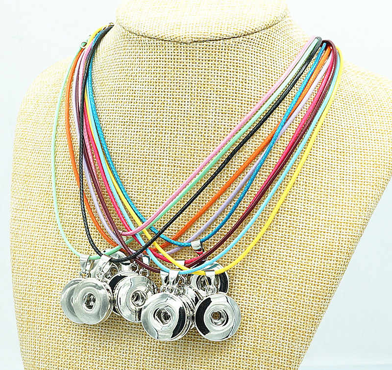 Fashion trendy Simple colorful rope snap necklace 42cm snap jewelry fit 18mm snap buttons wholesale DJ0164