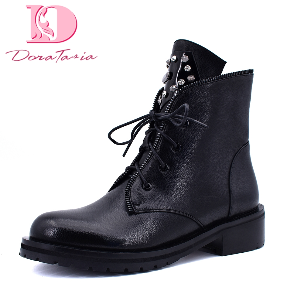 Doratasia brand new best quality plus size 42 rivets ankle boots woman shoes casual shoes woman