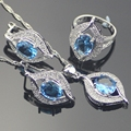 925 Sterling Silver Jewelry Sets Natural Blue Created Topaz Earrings/Pendant/Necklace/Rings For Women Free Gift Box