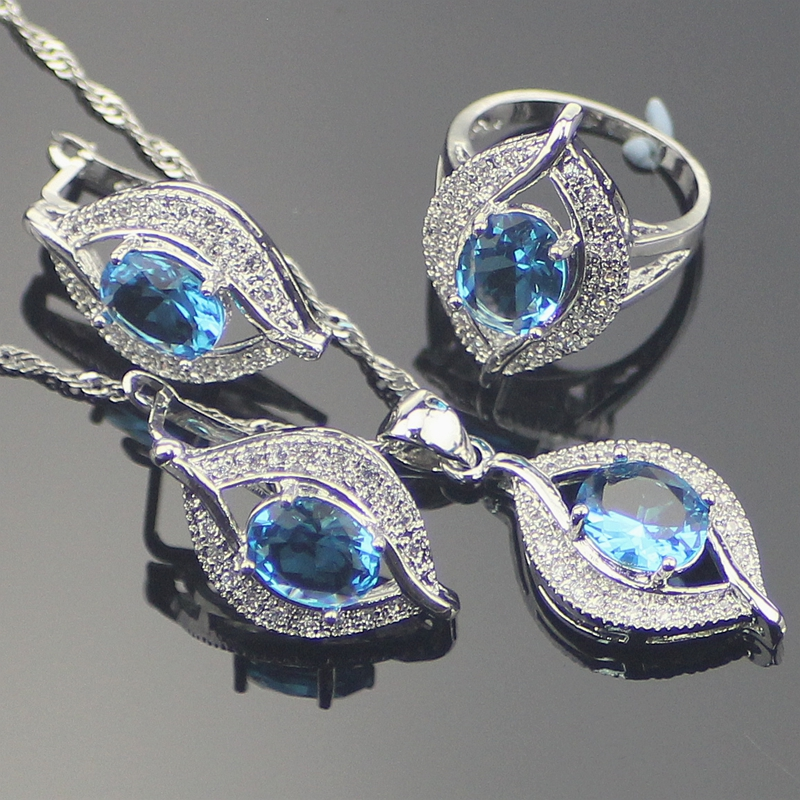 925 Sterling Silver Jewelry Sets Natural Blue Rhinestones Earrings/Pendant/Necklace/Rings For Women все цены