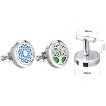 1pc 20mm Dropshipping Dream Catcher Tree Stainless Steel Locket Cuff Links Essential Oil Diffuser Locket Aromatherapy Cufflinks(China)