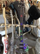 High quality 4 strings  colorful led light   crystal  electric bass guitar
