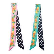 Womens Scarfs Fashion Pineapple Dot Printed Skinny Faux Silk Scarves Long Narrow Tie Bag Ribbons Headbands 100*5cm