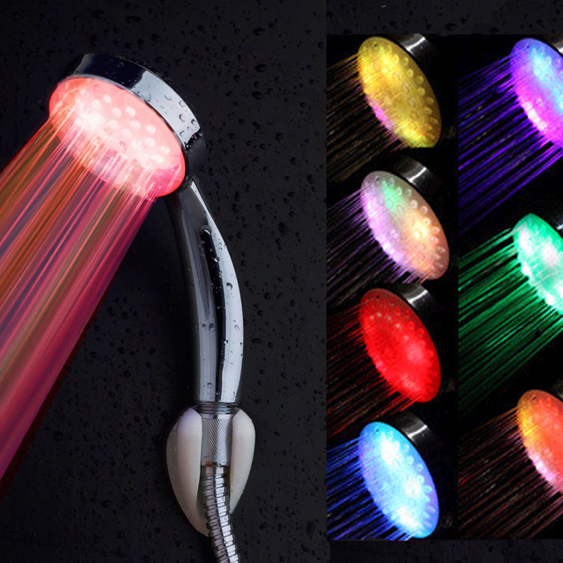 Shower Equipment Frank Colorful Led Shower Head No Battery Led Waterfall Shower Head 7-color Changing Shower Head Round Sprayers Bathroom Accessories Home Improvement