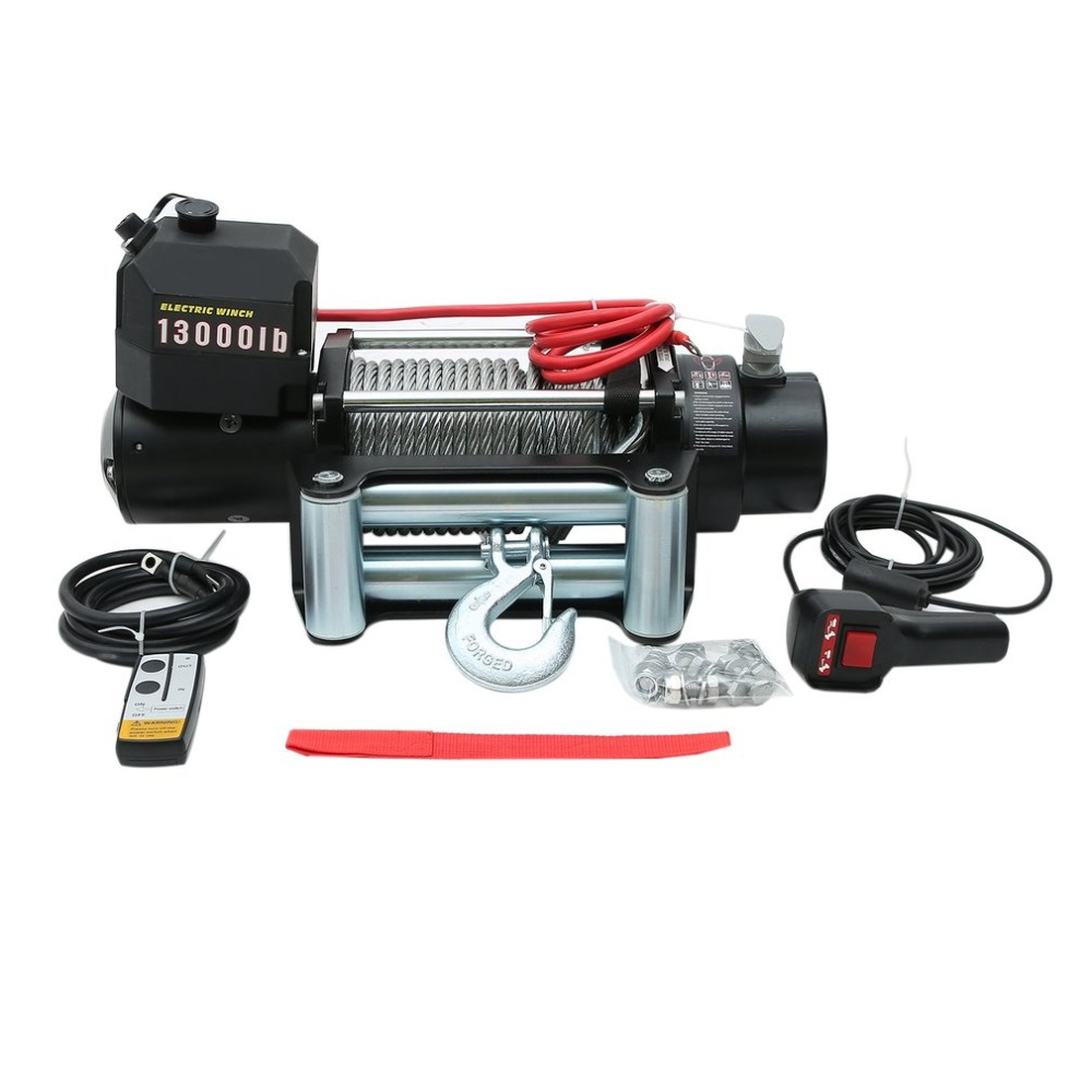 Professional Load Capacity 13000lb 12V Electric Winch Steel Wire Cable Pull Winch Recovery Car Vehicles Off-Road Boat Lift Winch