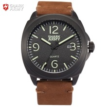 SHARK ARMY Black Auto Date Full Steel 100m Waterproof Brown Leather Band +Iron Gift Box Quartz Men Military Sports Watch /SAW183