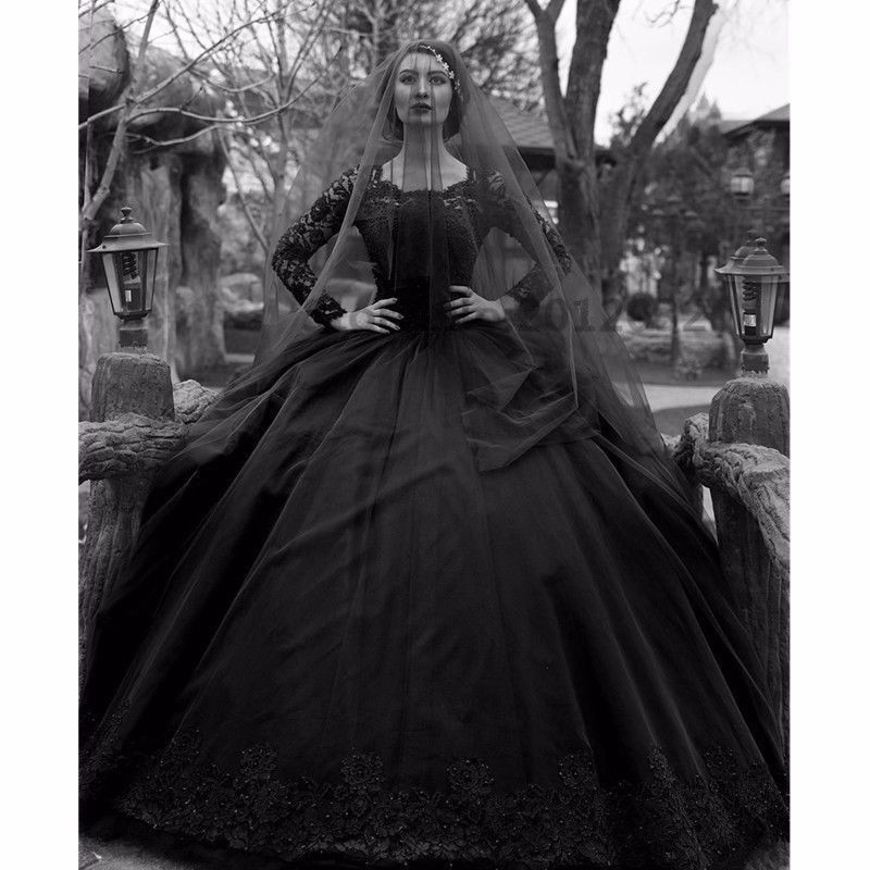 black lace tulle gown wedding dress