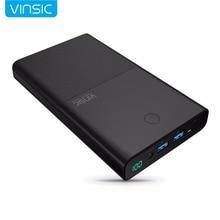 Vinsic 28000 mah banque de puissance de charge rapide 5 v/9 v/12 v smart qc 3.0 2 usb ports 18650 lithium batterie externe pour samsung iphone