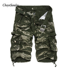 New 2018 Men Cargo Shorts Casual Loose Short Pants Camouflage Military Summer Style Knee Length Plus Size 10 Colors Shorts Men C(China)