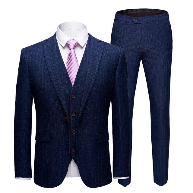 78fad95f5a4da6 2019 mężczyzna garnitur Pure color nowy wzór paski garnitur pana młodego  Groomsman garnitur starszy mężczyzna pełna sukienka kurtka spodnie  kamizelka 3 ...