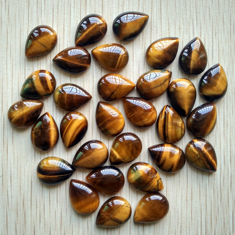 Wholesale 50pcs 13x18mm high quality Natural tiger eye Stone drop CABOCHON CAB teardrop Beads for jewelry making DIY beads free