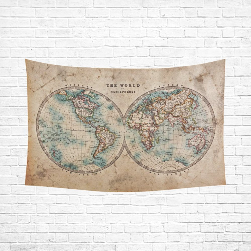 Global Map Wall Art Home Decor Vintage Retro Style Old World Map - 1800s world map