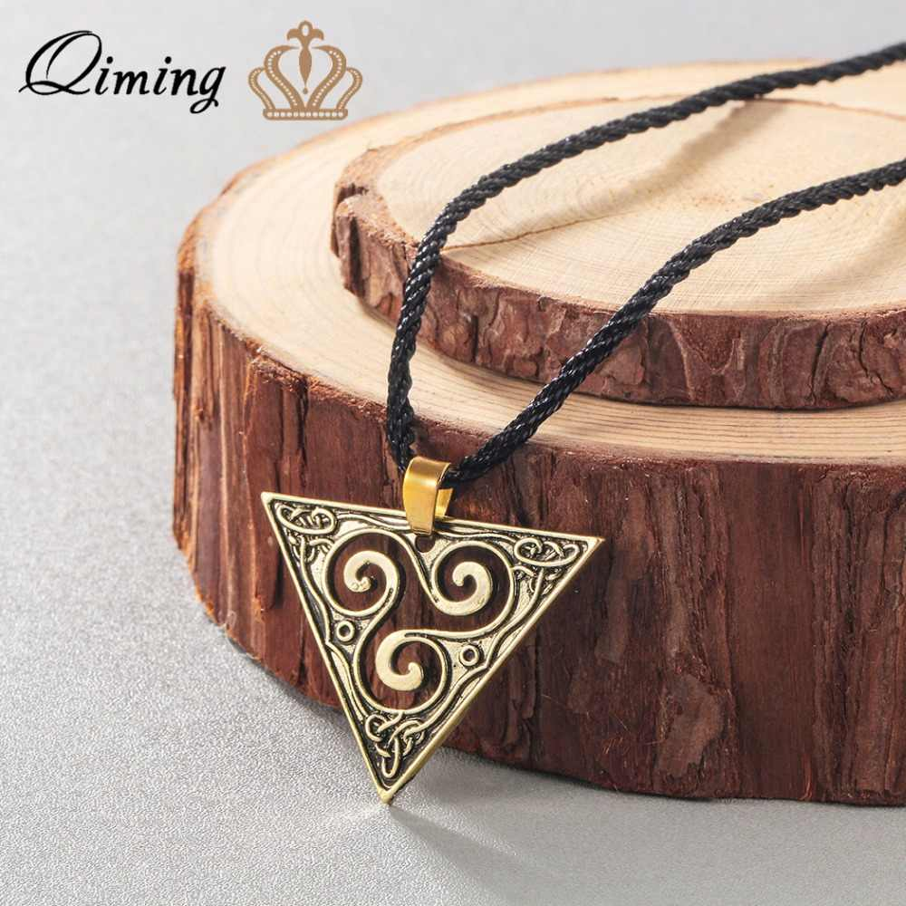 QIMING Xoắn Ốc Triskele Vòng Cổ Tam Giác Viking Vintage Trang Sức Hình Học Mặt Dây Chuyền Celtic Bạc Triskelion Vòng Cổ Nam Nữ
