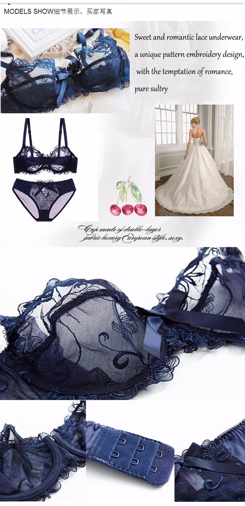 0d1e1247067 Fashion embroidery bras underwear women set plus size lingerie sexy ...