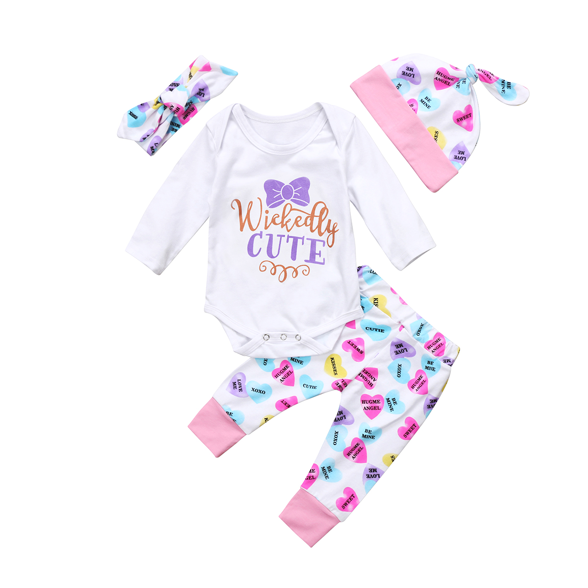 Newborn Toddler Baby Girl Clothes Long Sleeve Romper Bodysuit+Floral Headband Leggings Outfits Set