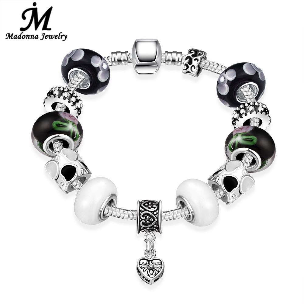 9fe6af4e65e1 Nueva alta calidad del estilo punky blanco y negro vidrio Cuentas fit  serpiente araña encanto plata plateada pulseras joyería