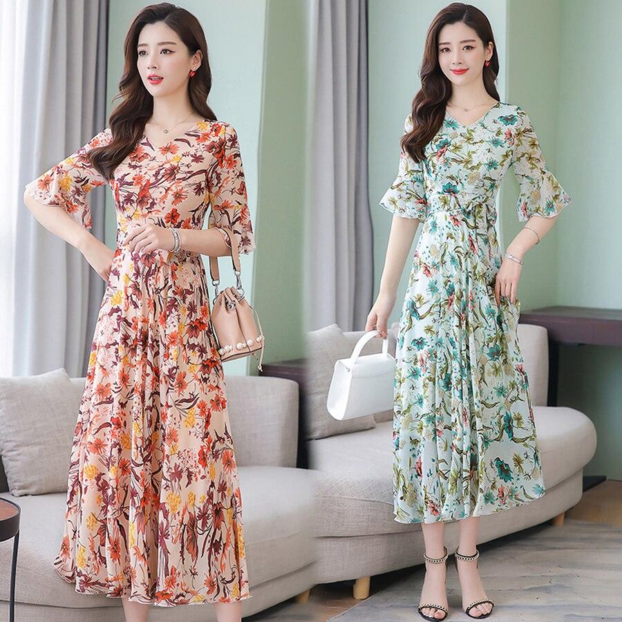 Summer Vintage 3XL Plus Size Print Beach Midi Sundress 2019 Elegant Women Floral Chiffon Boho Maxi Dress Bodycon Party Vestidos