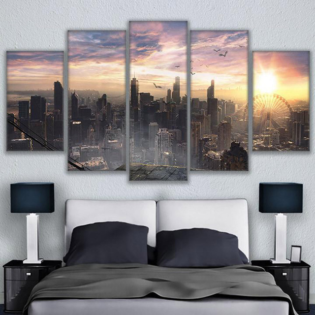 Vintage Home Decoration Paintings On Canvas Framework Modular Pictures 5 Panel City At Night Posters And Prints On The Wall