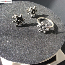 hot sell flower earrings and rings wedding jewelry free ship