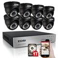 Zosi 8ch hd 720 p sistema de cftv com 1 tb hard drive 8 pcs 1200tvl câmera de segurança em casa à prova d' água visão noturna kits de câmera de vigilância