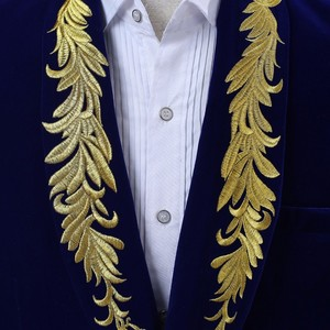 Image 5 - PYJTRL Mens Shawl Collar Royal Blue Suede Embroidery Loose Suit Jacket Stage Show Singer Double breasted Men Blazer Designs