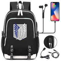 Anime Backpack Attack on Titan Backpack Bag Canvas Rucksack USB Fashion Port Headphone Anime Book Bag Laptop mochila feminina