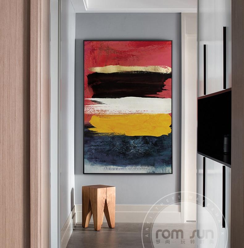 Современный абстрактный разноцветный холщовый постер с принтом, красочная Золотая фольга, настенные художественные картины для галереи, г...