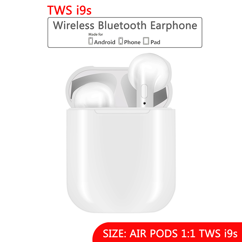 Mini IFANS I9S TWS Airpod Wireless Bluetooth Earphone Earbuds With Mic Not Airpod For Iphone7,8,X Samsung Android xiaomi ifans ifans101 white