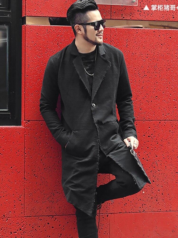 Modest Men New British Style Suit Collar Long Cardigan Brand Design Coat Casual Cotton Slim Black European Style Coat For Men F8199 High Quality