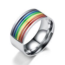 Anillos de boda de acero inoxidable para hombre, sortija de acero inoxidable 2018, anillo de 10mm de ancho con arcoíris, joyería Gay para La
