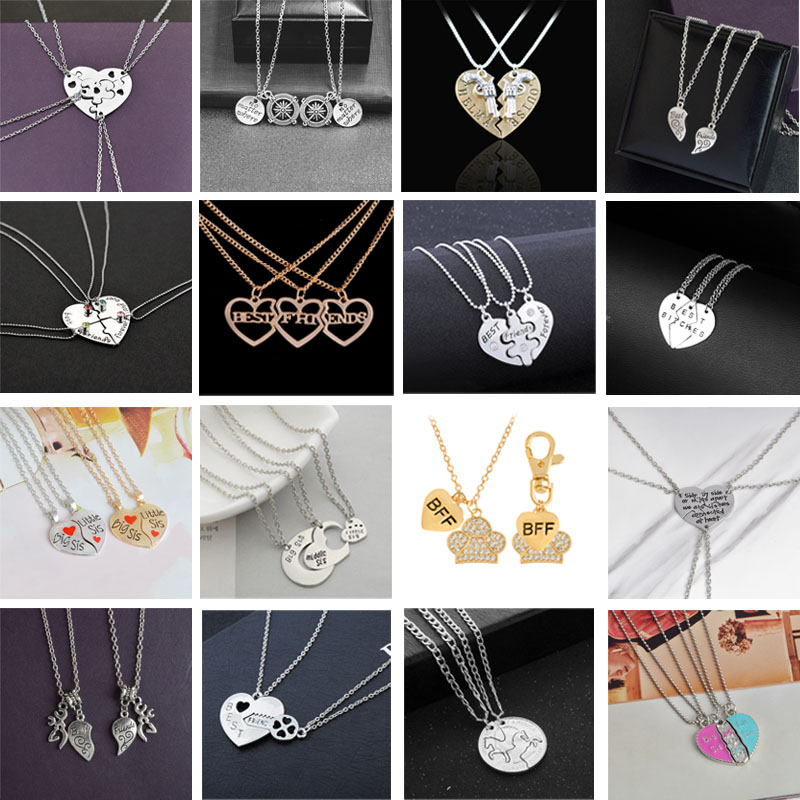 86a4239c74ffc 2018 Fashion Hot Best Friends Necklace BFF Set Pendant Alloy Creative  Birthday Gift Best friend Heart-shaped bff Couple necklace