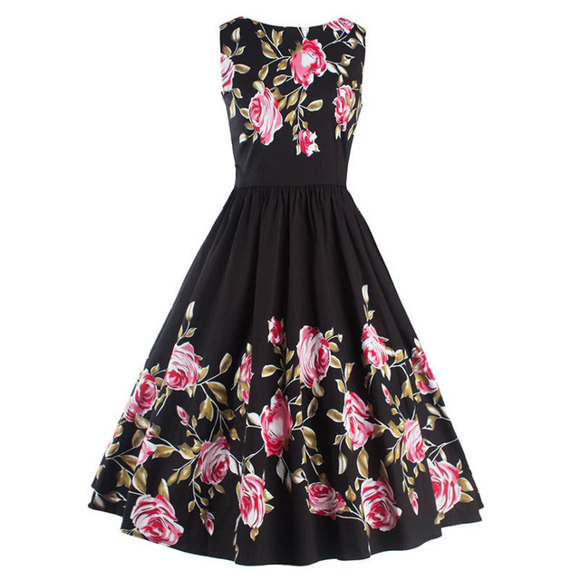 29169f7f500 Women s Vintage Sleeveless Floral Cocktail Rockabilly Swing Dress Audrey  Hepburn Style Retro 50s 60s Casual Party Cotton Dresses
