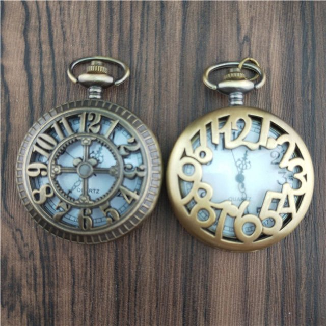 Unique Men Women Vintage Pocket Watch Roman Numerals Fob WatchGlass Dial Necklac