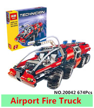 Lepin 20042 674Pcs Genuine Changing Technic Series The Airport Fire Truck Set Educational Building Block Bricks Toy for children