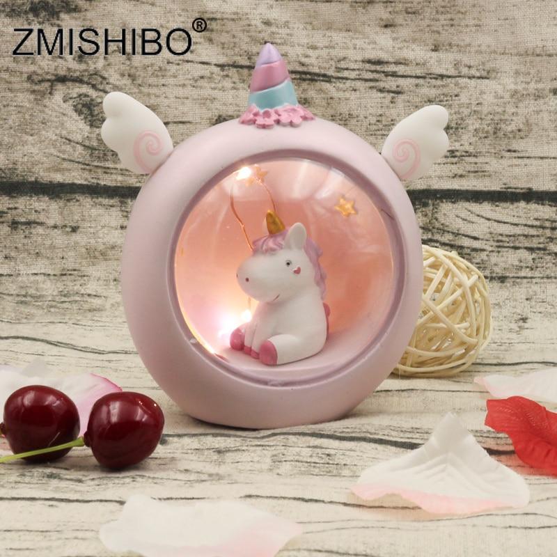 ZMISHIBO Novelty Mini Unicorn Night Lights Pink Blue Girl Room Decoration Warm White Table Lamp Cute Animal Gift For Kids