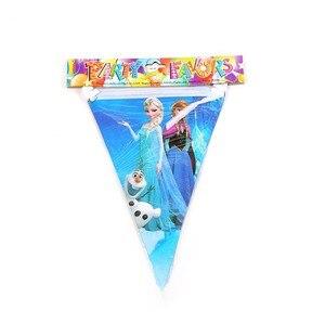 Image 4 - 100 adet 10 kişi için Disney dondurulmuş prenses Anna Elsa sofra seti çocuk mutlu doğum günü çocuklar parti malzemeleri süslemeleri