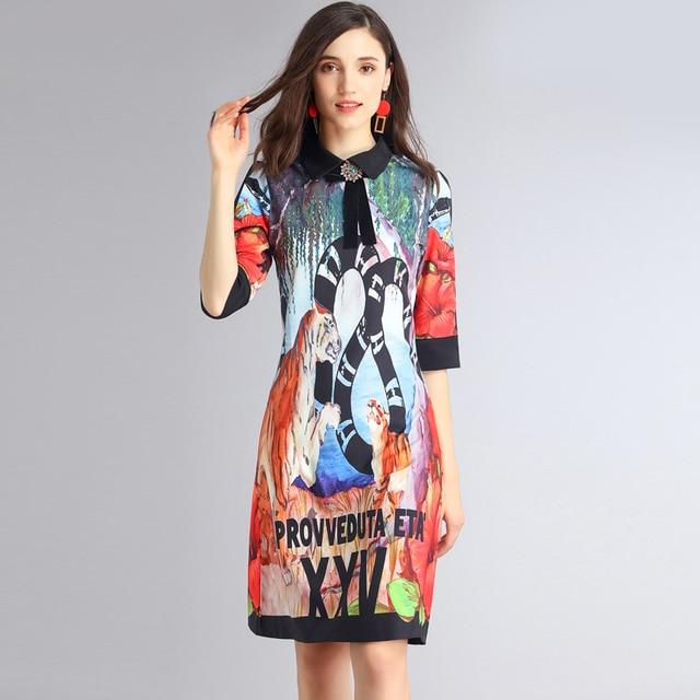 High Quality 2018 New Designer Fashion Summer Dress Women S Half Sleeve Bow Tiger Animal Print Vintage