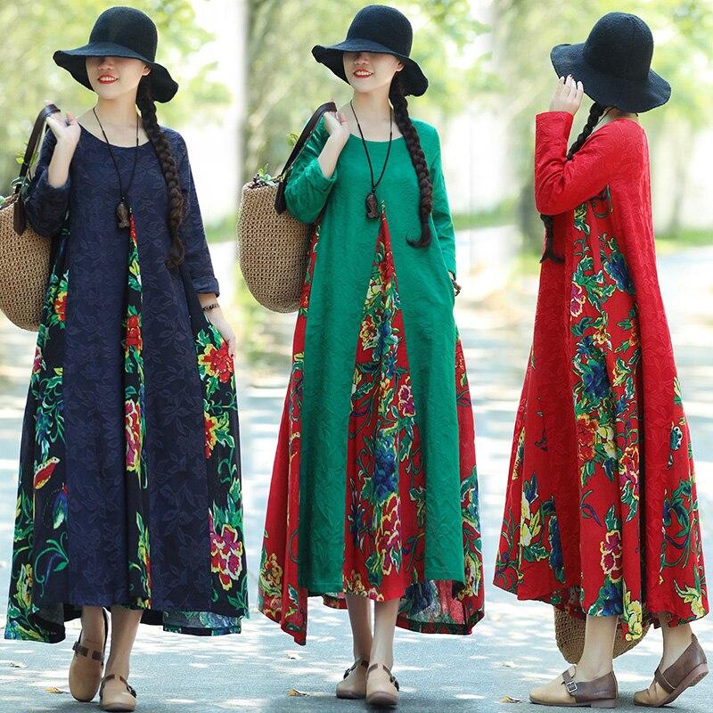 Façons d'assouplir le nouveau fonds de 2018 hivers d'automne est de grands yards jacquard épissage coton et lin robes imprimées