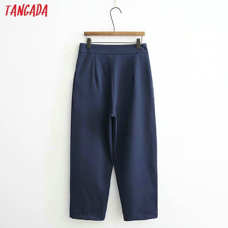 Tangada women elegant navy pants 19 ladies casual harem pants cotton cool korean fashion trousers mujer XD449 11