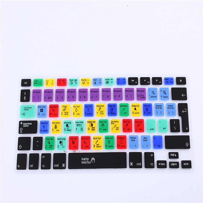 For AdobePhotoshop Keyboard Film protector for Macbook Air Pro Retina 13 15 17 Laptop Skin Covers for Mac book Gel case