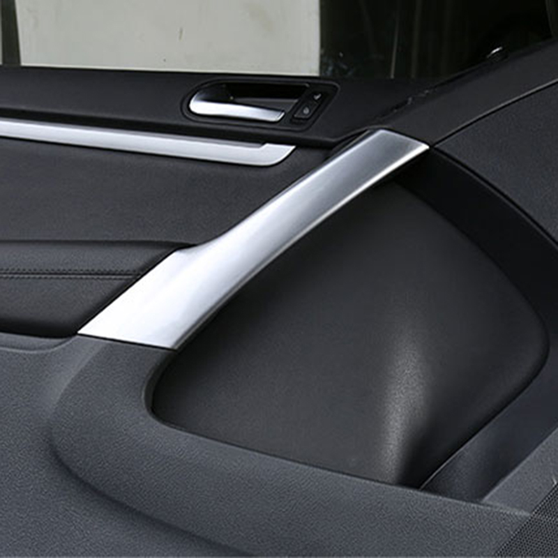 Chrome Interior Door Handle Frame Cover Trim 4Pcs Silver For VW Tiguan 2010-2015